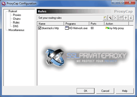 proxycap configuration bluestacks http routing rule