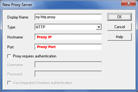 set up HTTP proxy in proxycap settings